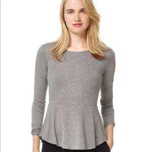 Aritzia Wilfred Peplum Long Sleeve Top Grey XS
